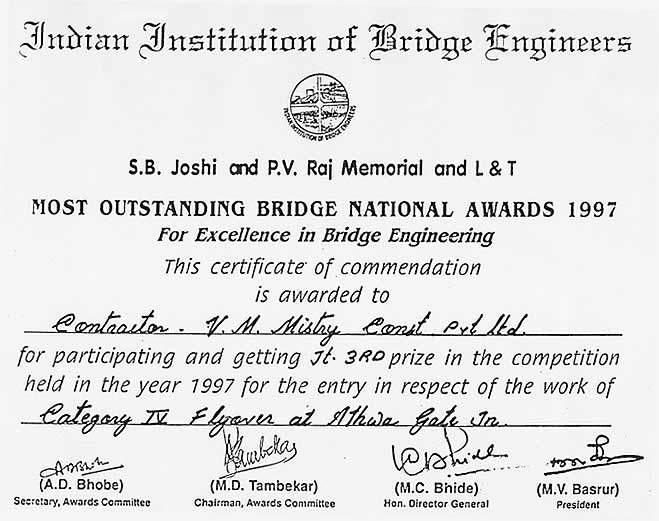 Most Outstanding Concrete Structure in India 1997 for Excellence