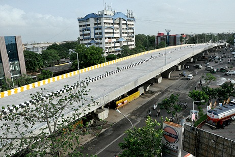 Construction of flyover bridge (six lane) at Sosyo Circle Junction on Udhna – Magdalla Road in Surat City.