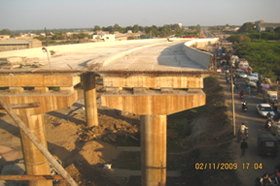 View of a partially completed bridge