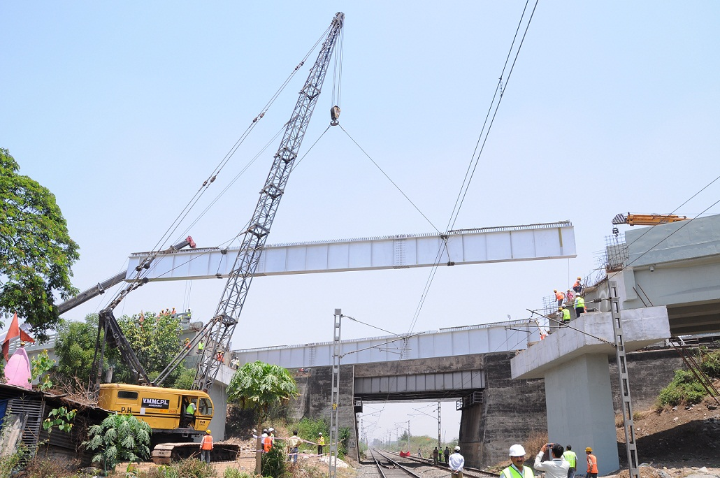 Construction of 2 two lane Road over Bridge  between Sachin and Bhestan at Surat.